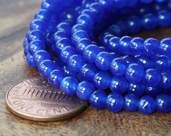 Dyed Jade Beads, Royal Blue Semi-Transparent, 4mm Round - 16 Inch Strand - eSJR-B10-4