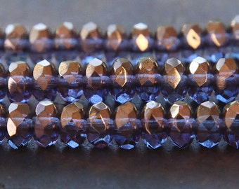 Czech Glass Rondelle Beads, Bronze Illusion, 7x5mm - 25 pcs - e04415-57