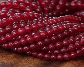Dyed Jade Beads, Dark Red Semi-Transparent, 4mm Round - 16 Inch Strand - eSJR-R06-4