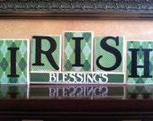 St Patricks Day home decor - Wood Irish Blessings blocks - seasonal home decor