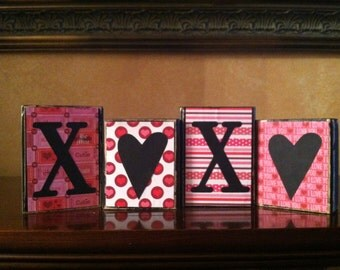 Valentine's Day - Wood XOXO blocks - Wood love valentines day Sign - Valentine's day decor - Seasonal Winter Home Decor fireplace mantel