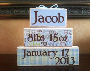 Personalized Baby Gift, Baby Blocks, Gift for baby boy,  personalized gift, wood block sign