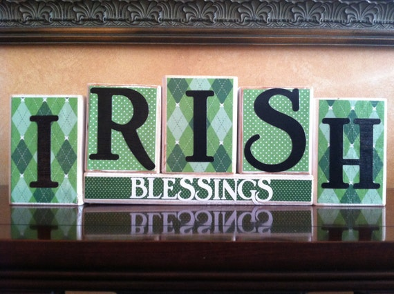 St patricks day home decor wood irish blessings blocks for Irish home decorations