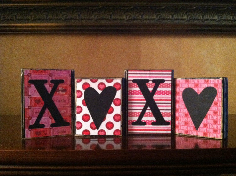 Valentine 39 S Day Wood Xoxo Blocks Wood Love Valentines
