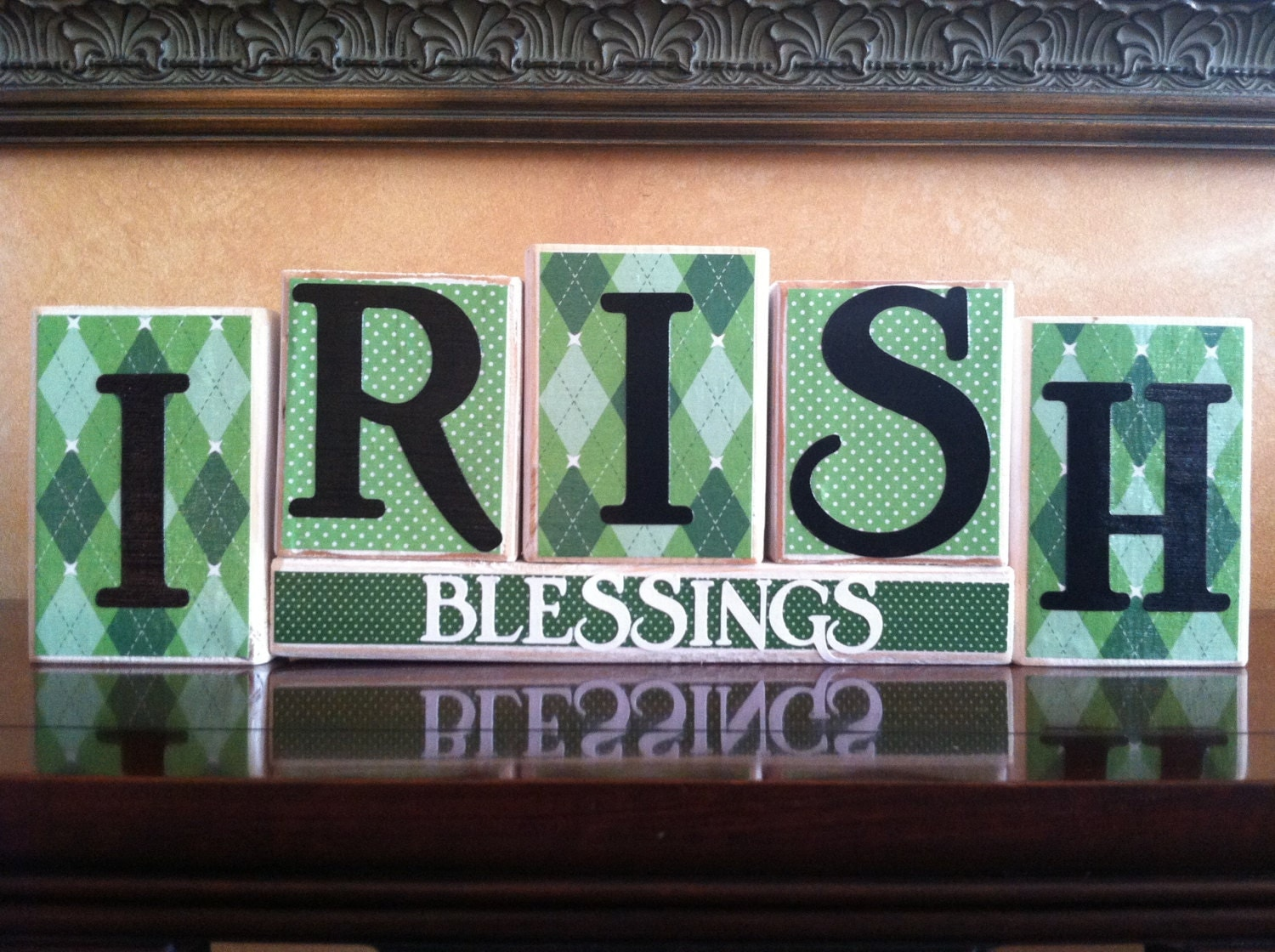 St Patricks Day Home Decor Wood Irish Blessings Blocks