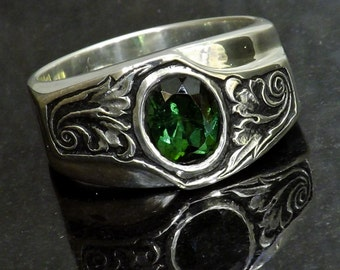 Silver Engraved Ring Green Tourmaline Sterling Silver Statement Ring