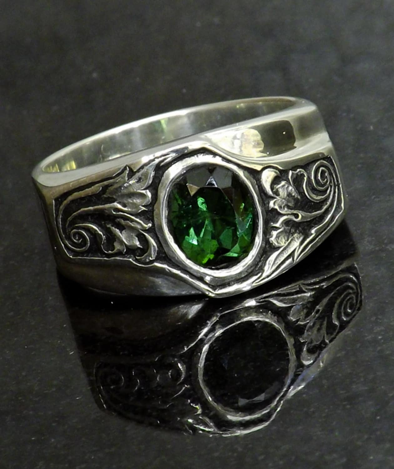 silver engraved ring green tourmaline sterling silver