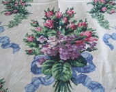 Vintage   round tablecloth shabby chic purple blue green  pink white  shabby chic cottage chic tablecloth by hermina's