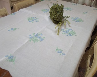 vintage linen tablecloth shabby chic cottage chic blue and white  hermina's cottage