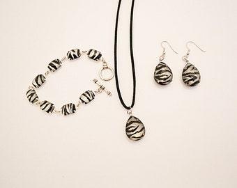 Zebra Print Teardrop Necklace