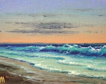 Coastal Scene,  ACEO  original oil painting.