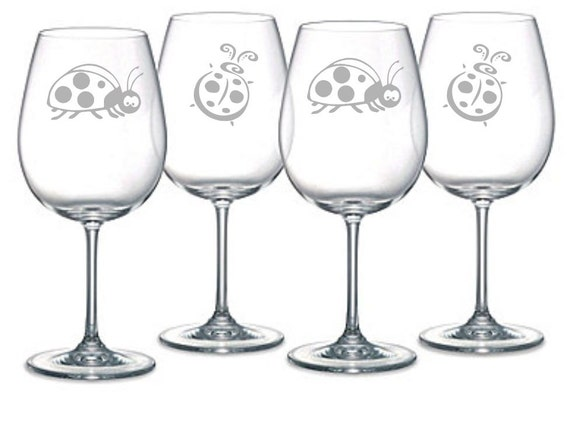 Ladybug  Choice of Pilsner, Beer Mug, Pub, Wine Glass, Coffee Mug, Rocks, Water Glass  Set of 4 Sand Carved (etched, sandblasted)