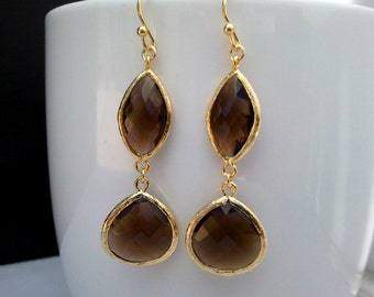 Mocha in Brown Gold Earrings, Drop, Dangle, Glass Earrings, bridesmaid gifts,Wedding jewelry