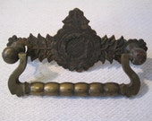 Antique Draw Pull Ornate Metal Art Nouveau Leaf Design Aged and Patina
