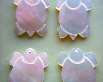 Vintage Mother of Pearl Turtle Pendant / Charm x 4     # XX 11