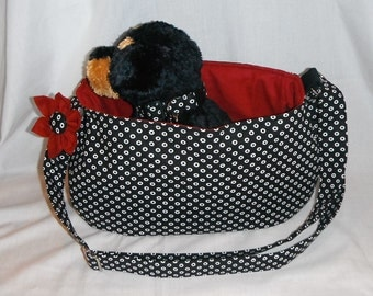 Pet Sling Carrier - Black/White Donut Dots - For Dogs Up To Approx. 6lb