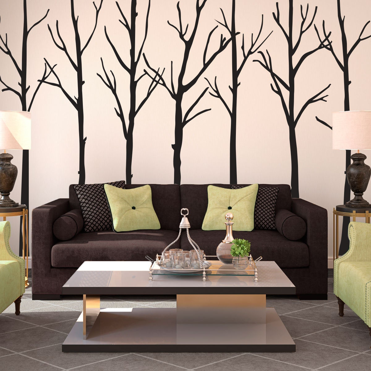 Winter Leafless Trees Silhouettes Forest Wall Decal By