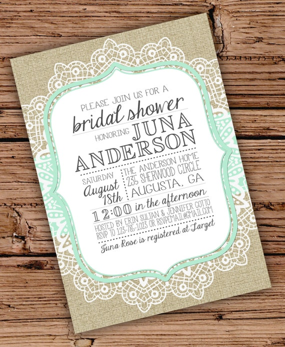 items similar to burlap and lace bridal shower invitation. Black Bedroom Furniture Sets. Home Design Ideas