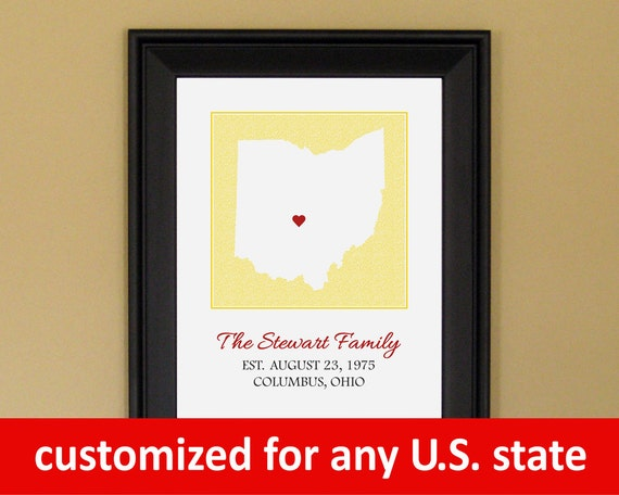 Personalized Family Name Sign - Established Family Art - Housewarming Gift - Custom Ohio State Map - 11 x 14