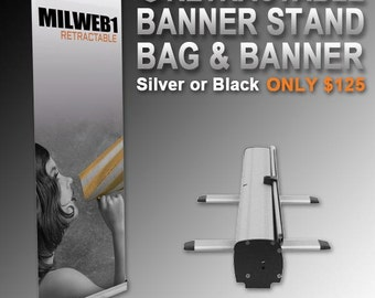 """31"""" x 78"""" Retractable Banner Stand, Bag and Banner"""