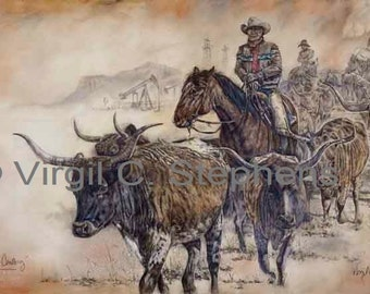 Cattle Drive Of The Century, print from my original oil painting of a cowboy roundin' up cattle on a cattle drive