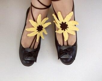 Crochet sunflower barefoot sandals-Hand Crochet Sandals-footless sandals-Beach Jewelry-Pool-Ready to Ship