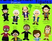 Famous Figures Digital Clip Art Historical People -- Buy 2 GET 1 FREE
