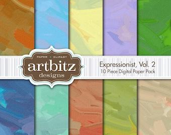 "Expressionist, Vol. 2, 10 Piece Digital Scrapbooking Paper Pack, 12""x12"", 300 dpi .jpg"