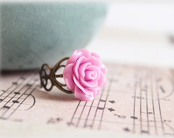 Pink rose ring, lucite flower cabochon on vintage style filigree adjustable brass ring, victorian inspired jewelry