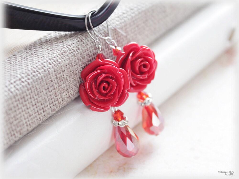 Red Rose Earrings Red Rose Earrings Coral Red