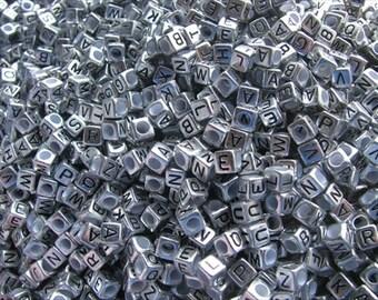 Antique Silver Alphabet Beads- Letter F- set of 50