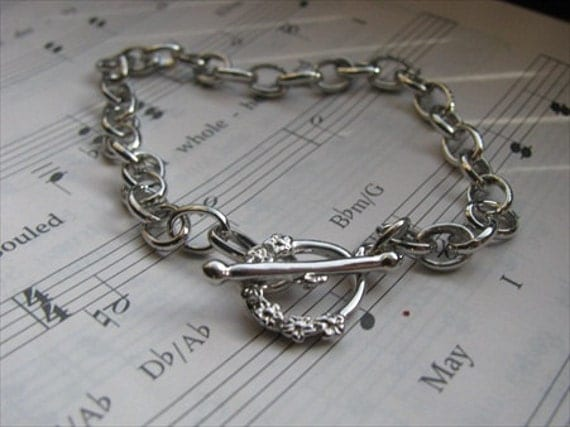 Silver Bracelet- Toggle Clasp Bracelet- 7 inches in length- set of 5 bracelets