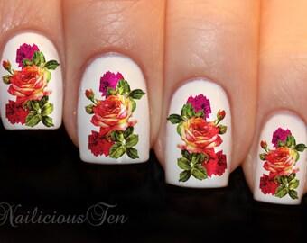 Elegant Vintage Roses Nail Wrap Art Water Transfer Decals 21pcs