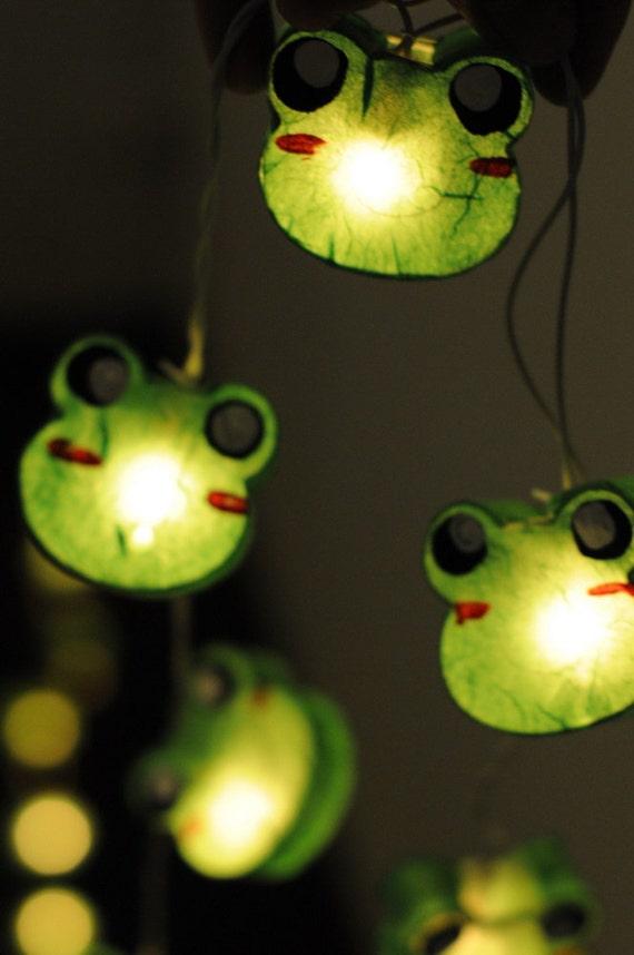 Green Lantern String Lights : 20xpaper Green forest Frog cartoon paper handmade by cottonlight