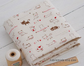 Cute Happy Cats World Linen Cotton Fabric, Light Beige Linen, Bag Curtain Cushion Kids Decor Fabric- Fabric by Yard 1/2 yard