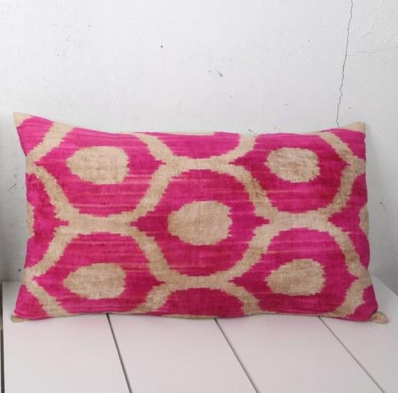 15 x 26 Decorative Pillow Accent Pillow Throw Pillow Ikat Pillow Cover Silk Pillow Pink Velvet Ikat Cushion - 03652-116
