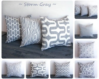 "Gray pillow cover 22"" x 22"" One cushion cover Storm Gray and white throw pillow cover"