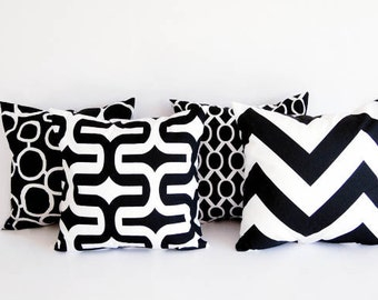 Four throw pillow covers Four cushion covers mod black throw pillow cover black and white pillows
