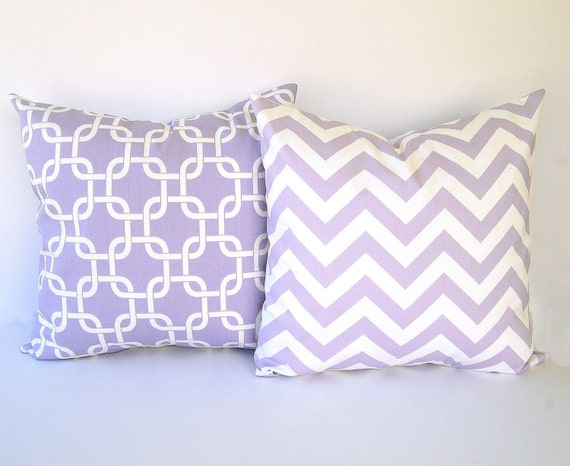 Lavender And White Throw Pillow : Lavender throw pillow covers set of two 20 x 20 by ThePillowPeople