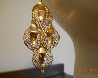 SALE Gold Filigree Leaf on Leaf Chandelier Dangle Earrings