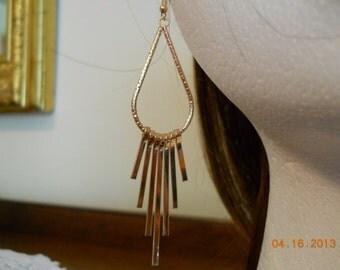 Gold Teardrop Earrings with Gold Bar Dangles