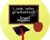 "Chalkboard Graduation Stickers - Sheet of 20 - 2"" round"