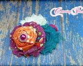 Purple, Orange, Teal Hair Bows, Fabric Flower Hair Accessories, Hair Clip, Flower Headband, Fabric Flowers, Hair Bow, Flower Brooch