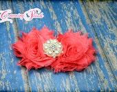 Coral Hair Piece, Hair Accessories, Shabby Chiffon, Pearl, Rhinestone, Headband, Hair Clip, Wedding, Hair Bow, Bridesmaid's