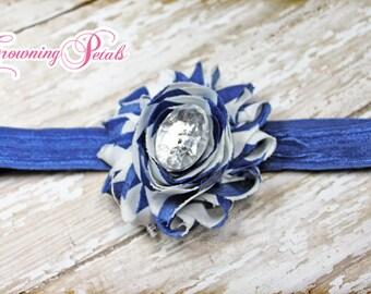 Royal Blue White Shabby Chiffon Fabric Flower Headband, Hair Bow, Blue Hair Accessory, Baby Girl Headband, Newborn, Flower Hair Clip
