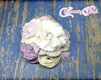 Hair Accessories, Lavendar Headband, Bridal Headband, Purple Hair Piece, Flower Girl's Hair Clip, Baby Hair Bow, Fabric Flower Brooch