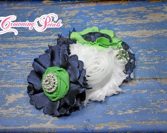 Navy Blue, Apple Green Headband, Baby Girl Hair Bow, Infant Hair Accessories, Hair Clip, Fabric Flower Brooch, Flower Hair Piece