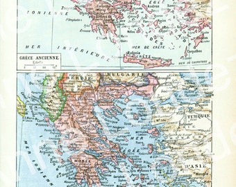 1922 Vintage Greece map vintage French dictionary page Antique Greece map Old map of Greece