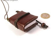 """Mini-book necklace """"Brown Book"""", faux leather brown-colored tiny book pendant for women and girls"""