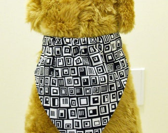 Pet Bandana Geometric Squares Large Black and White Free Shipping